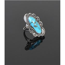 Blue Turquoise Sterling Silver Ring. Ring Siz
