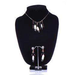 Bone Feather Necklace And Earrings Signed By