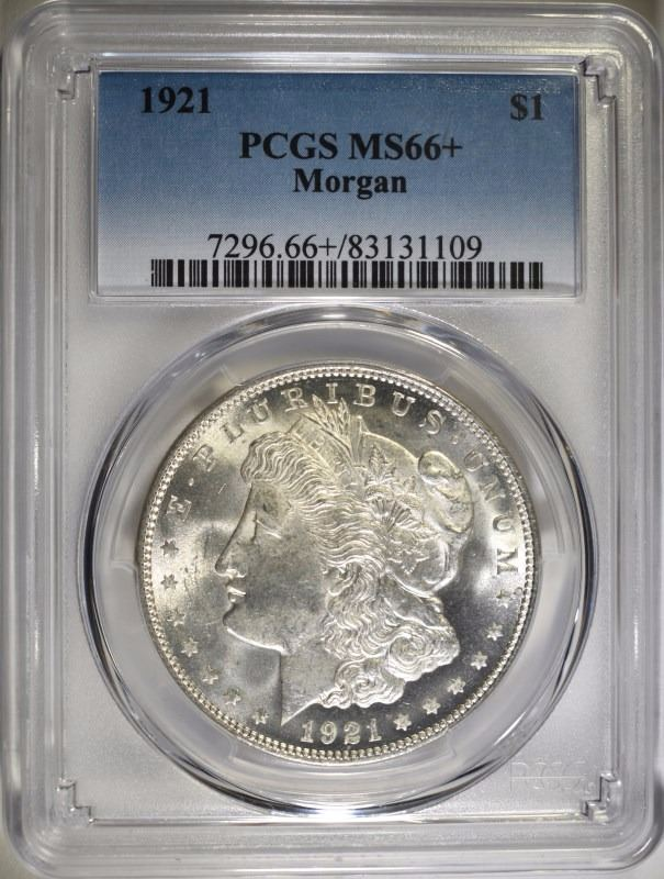1921 MORGAN SILVER DOLLAR - PCGS MS66+ BEAUTY - PCGS PRICE GUIDE $3200