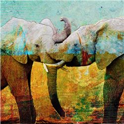 """Tanda Tula Trunk Play"" by John Baran Animal Art"