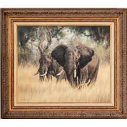 """""""Elephants: Okavango"""" by 2018 HSC Artist of the Year, Jaco van Schalkwyk"""