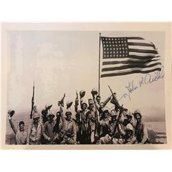 Framed photo of Marines on Mount Suribachi with Jar of Sand Collected on Iwo Jima