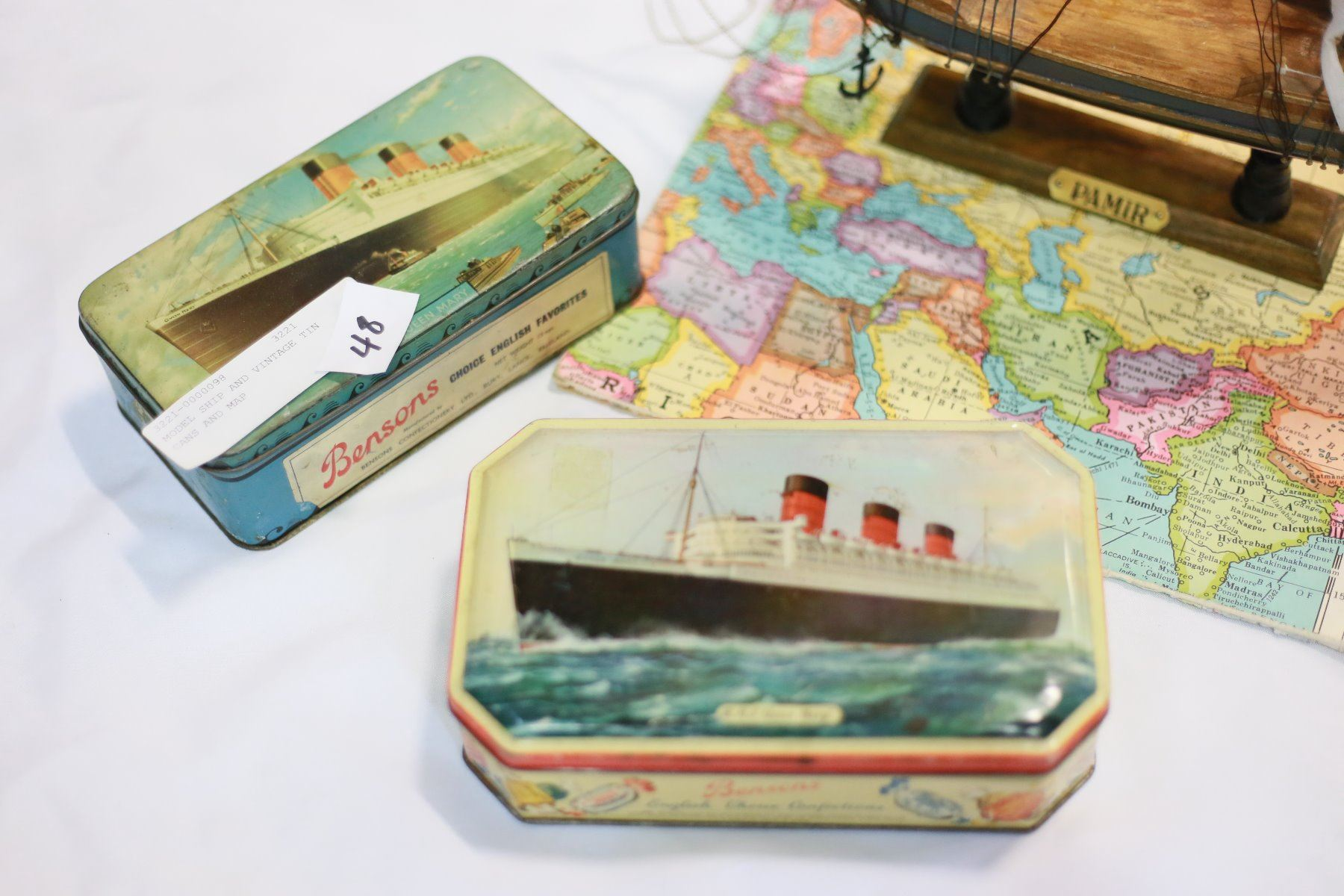 MODEL SHIP AND VINTAGE TIN CANS AND MAP