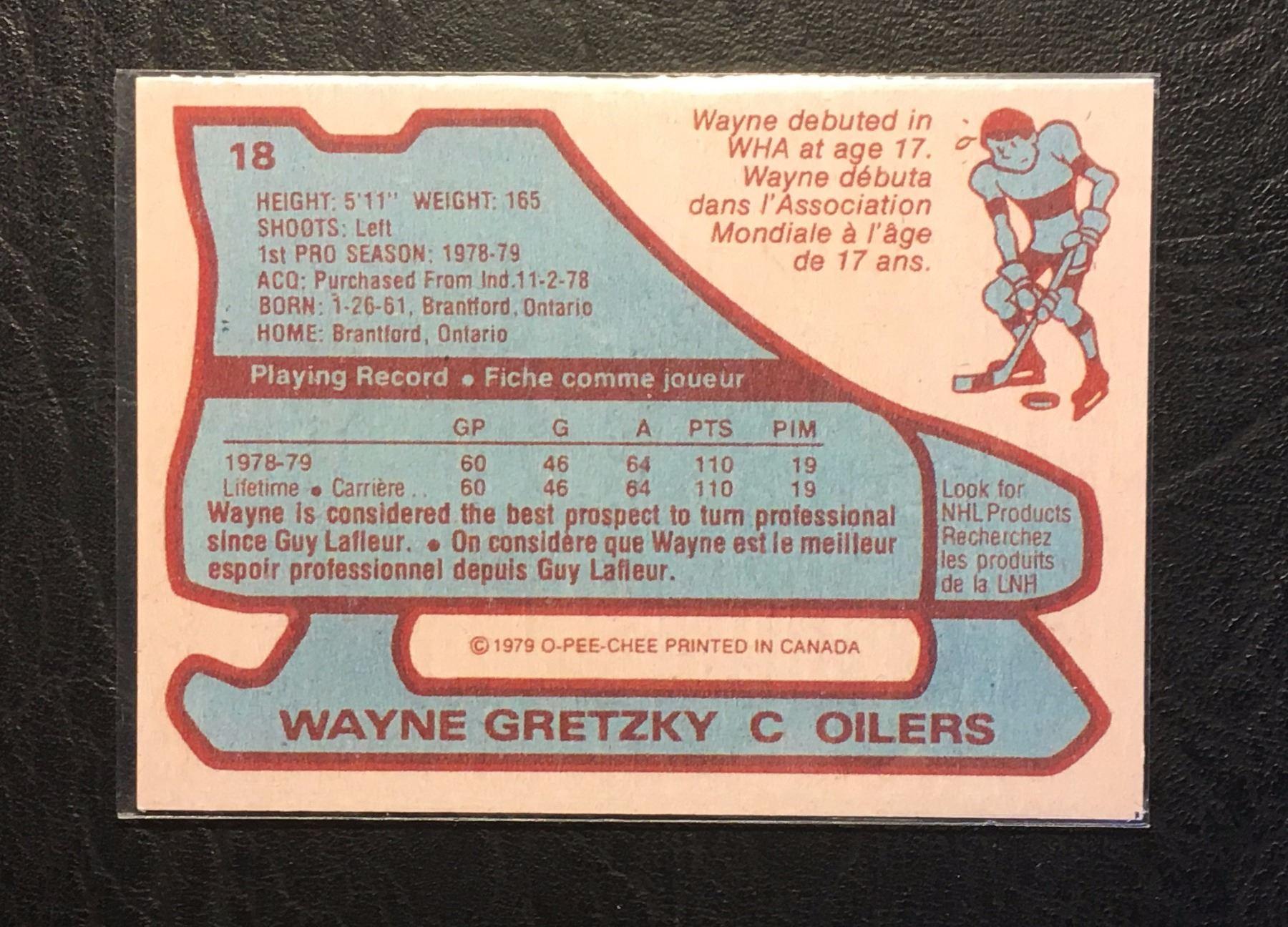 1979 80 Wayne Gretzky 18 O Pee Chee Hockey Trading Rookie Card Reprint