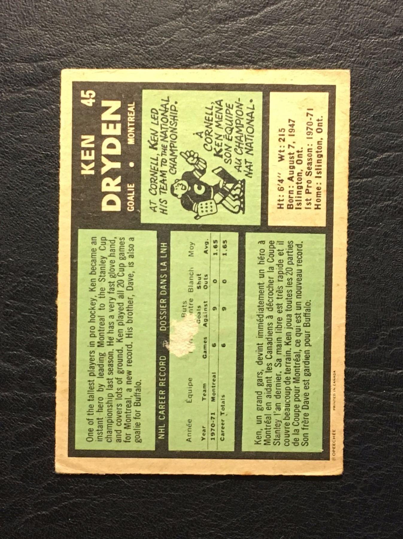 1970 71 Ken Dryden O Pee Chee Rookie Hockey Trading Card