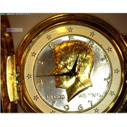Pocket Watch with Gold colored Watch Chain. Dial is made from a silver 1967 Kennedy Half-Dollar high
