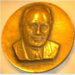 "Conrad Hilton Bronze High relief Medal, ""To Commemorate The Opening of Hilton Inn Aurora-Illinois Au"