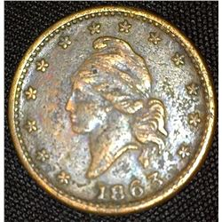 """1863 Civil War Token """"Army/&/Navy"""", VG, pitted."""