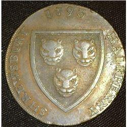 """1795 """"Shrewsbury Halfpenny"""", """"Salop Woolen Manufactory"""", #796A. VF."""