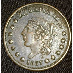 "1837 U.S. Hard Times Token ""Millions for Defence Not One Cent For Tribute"", HT-47. VF."