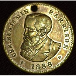 "1888 ""General Benjamin Harrison"", ""Republican Candidate For President"", BH 1888-25, Gilt Br., 25mm,"