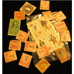 Group of Old U.S. Postage Stamps including a block of four Mint unused .10c Stamps.