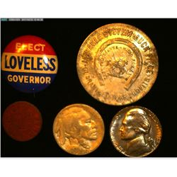 """""""K.P. Walter & Co…Make Your Bookie Obey Token; """"Elect Loveless Governor"""" Pin-back; """"VU"""" O.P.A. Token"""