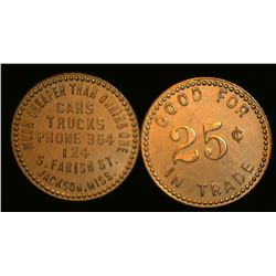 "Pair of ""Good For/25c/In Trade"", ""Much Cheaper Than Owning One/Cars/Trucks/Phone 364/124/S. Farish S"