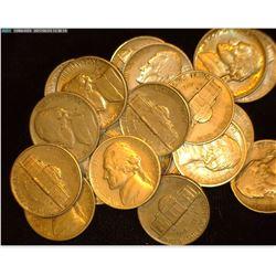 (21) 1938 D Jefferson Nickels, many EF+. Semi-keydate.