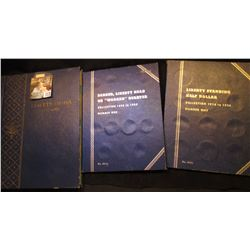 Empty Barber Quarter Whitman folder, Liberty Standing Half Dollar folder, & a Whitman Liberty Dimes