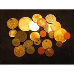 Large group of old Tokens, Medals, buttons and menagerie.
