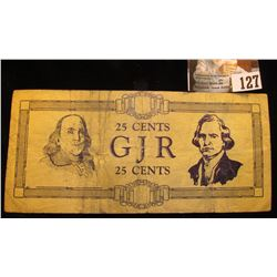 Original  GJR  25 Cents Scrip,  Reissued July 29, 1933 George Junior Republic  Date doubling error.