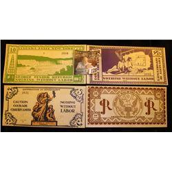 Original four-piece Set of CU June, 1925 George Junior Republic Scrip 5 Cent, 10 Cent, 25 Cent, & 50