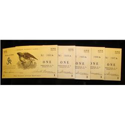 Original unheard of Five-Consecutive Serial Number Set of Series 1935  Re-Issued 5 July 1938  George