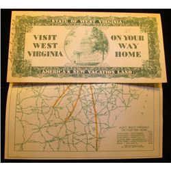 """""""State of West Virginia Visit West Virginia On Your Way Home America's New Vacation Land"""", September"""