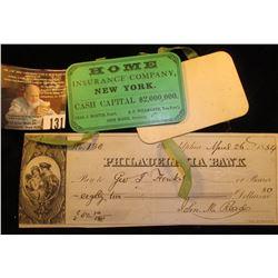 1864 Civil War Advertising Calendar  Home Insurance Company, New York Cash Capital $2,000,000 Chas.