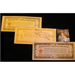 """25c, $1, & $5 Poll Parrot Shoe Money Scrip. Two are stamped """"Schoneman Shoe Store """"Quality Footwear"""""""