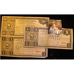 "July 29, 1933 50c, $1, & $5 Depression Scrip ""United States of America State of North Carolina Count"