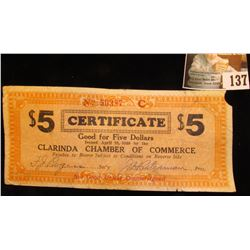 April 10, 1933 Depression Scrip $5  Good For Five Dollars…Clarinda Chamber of Commerce…  Rare Red Se