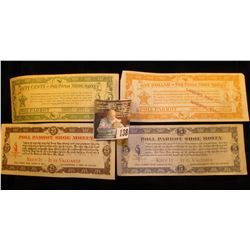 "25c, .50c, $1, & $5 Poll Parrot Shoe Money Scrip. Three are stamped ""Larson's Shoe Store Augusta, Ka"