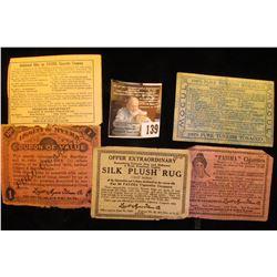 Five Different Tobacco Company Scrip. 1914-1915,  Fatima  &  Liggett Myers .