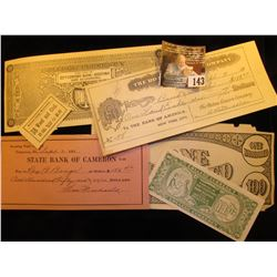 "(6) Different pieces of old ""College Currency"" Scrip, Invoices, Checks, & etc."
