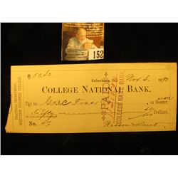 "1890 ""Galesburg, Ill. College National Bank…Practical Department, Western Business College"", left ed"