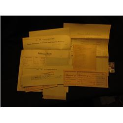 1911 Group of College Currency Invoices and Bookkeeping memorabilia, & etc.