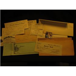 Large Group of College Currency, Check, Invoices and Bookkeeping memorabilia, envelope & etc. dating