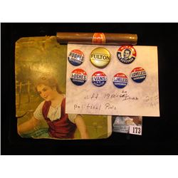 Carboard of Young female, reverse was used for a grocery list; Magic empty Cigar (made in Japan); &
