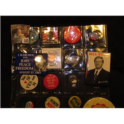 (16) Political Pin-backs and etc. in a plastic coin page.