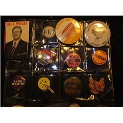 (20) Political Pin-backs and etc. in a plastic coin page.