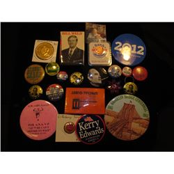 (20) Political Pin-backs and etc. in a plastic bag.