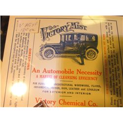 "1927 Nebraska advertisement for a license plate holder; ""Victory Mist"" Chemical Co. Advertising card"