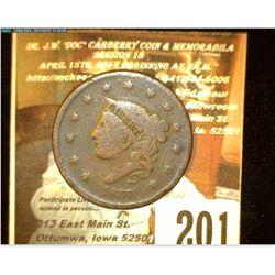 1837 U.S. Large Cent, VG.