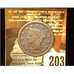 1845 U.S. Large Cent, VG.