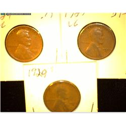 1929 P, D, & S Lincoln Cents, VG.