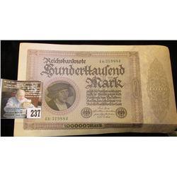Series 1923 German Reichsbanknote 100,000 Mark. VF.