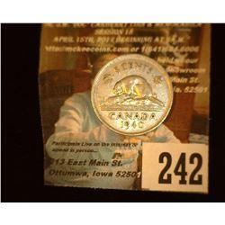 1940 Canada Nickel, EF.