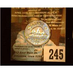1951 Canada Nickel, AU.