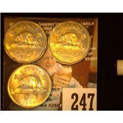 1960, 62, & 64 Canada Nickels, AU.