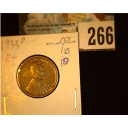 1933 D Lincoln Cent, EF.