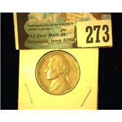 1938 D Jefferson Nickel, Very Fine.