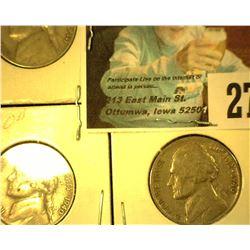 1940 P, D, & S Jefferson Nickel. Circulated.